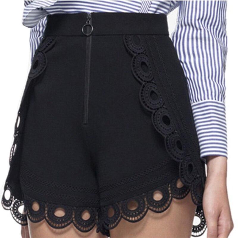 2018 Self Portrait runway Curved Hem   Shorts   Women's Lace   Shorts   Black Summer High Waist Vintage Luxury   Shorts   Sexy Women's   Short