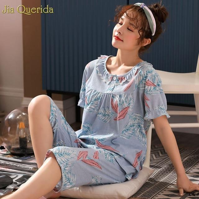 51bf1b71581 Women Summer Home Clothing 2019 Fashion Women Pajama Shorts Short Sleeves  Chic Trim Button Collar Blue Floral Big Size Women Pjs
