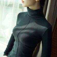 98% cotton t shirt women spring autumn long sleeve Turtleneck basic t-shirts female tops plus size harajuku high quality tshirt