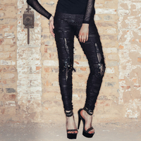Devil Fashion Steampunk Women Black Ragged Style Leggings Gothic Punk Fashion Casual Ripped Pants