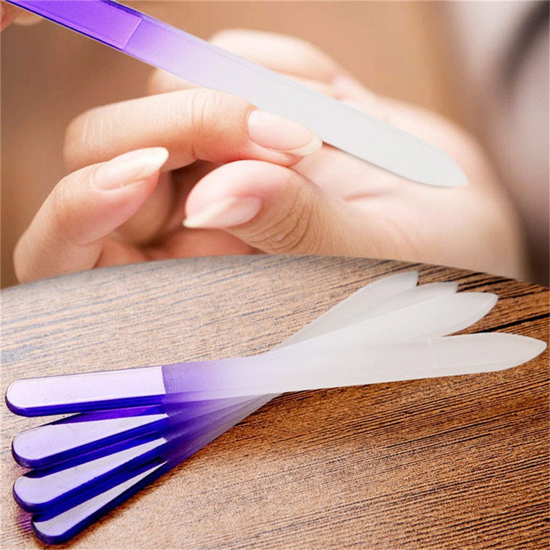 4pcs Nail Files Crystal Glass File Buffer Manicure Device Nail Art Decorations Tool Double Sided Glass Nail File Purple Color 4pcs durable nail file cuticle remover trimmer stone glass buffer nail art manicure device tool random color