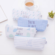1X Blue canvas pen bag School supplies Stationery Kawaii Pencil case for girl Kids Gift Canvas Pen Bags pencil