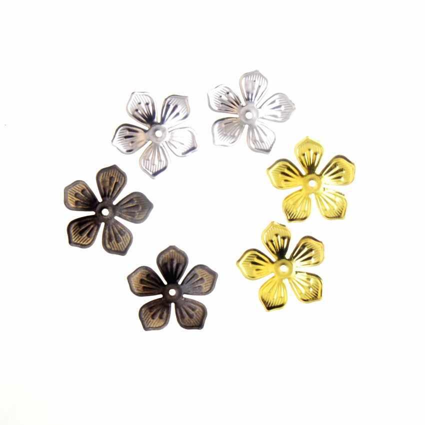 Frete grátis 20 pcs Bronze/Ouro/Prata Filigrana Wraps Flor Conectores de Metal Artesanato Presente Decoração DIY Apreciação 22 x 22mm