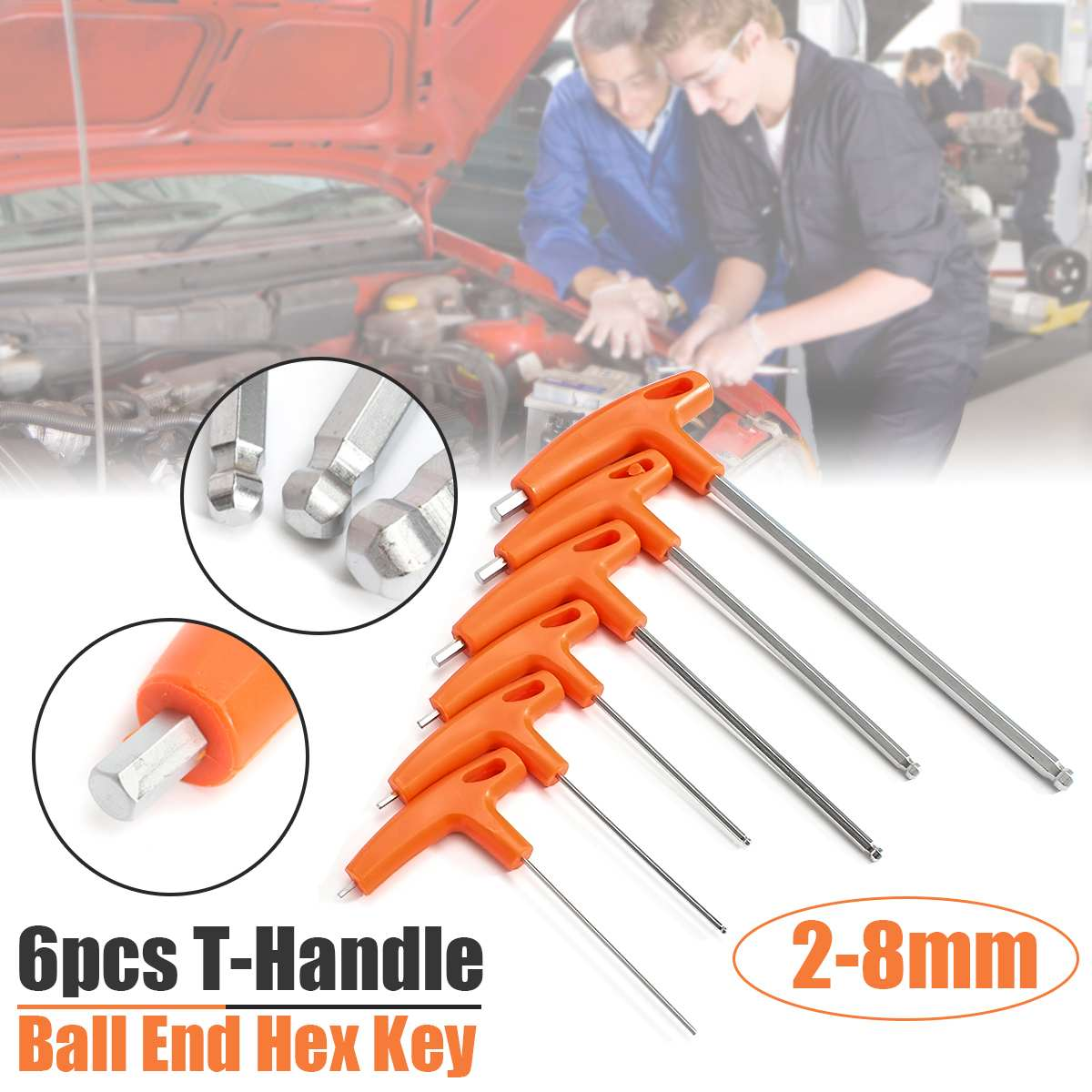 Doersupp 6Pcs /Set H2 - H8mm T Handle Ball Ended Hex Key Set Long Reach Allen Screwdriver Wrench Tool 2\2.5\3\5\6\8mm