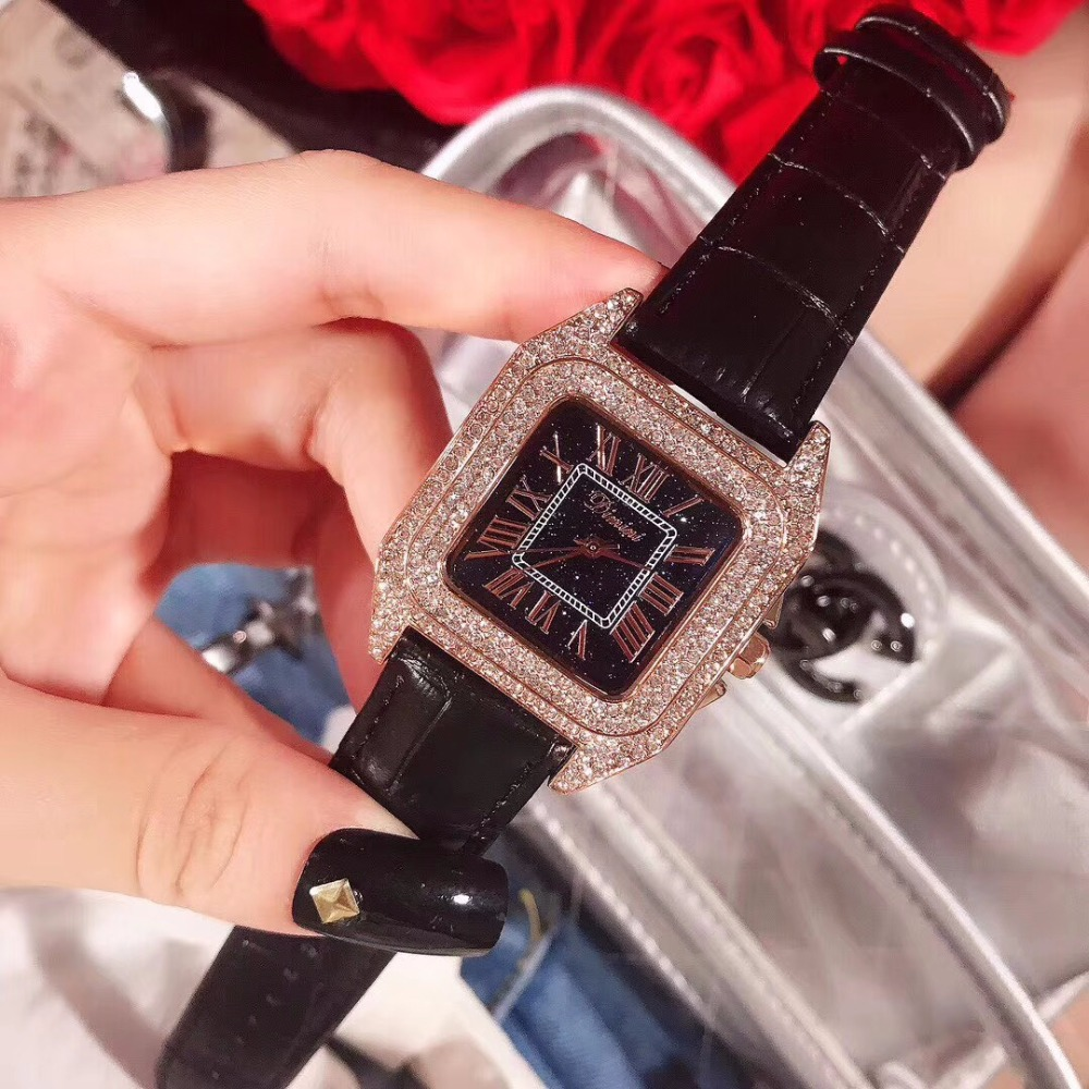 Luxury Full Diamond Women Square Bracelet Watch Roman Numeral Fashion Leather Rhinestone Quartz watches New Elegant