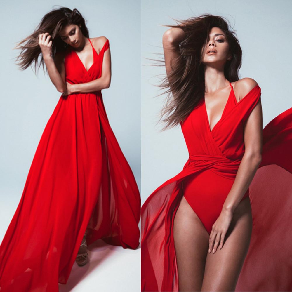 Summer-Red-White-Chiffon-Bikini-Wrap-Dress-Cover-Up-Transparent-V-neck-Long-Women-s-Beach