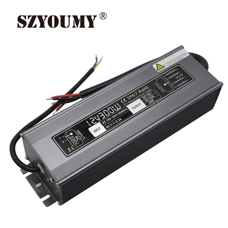 цена на SZYOUMY 25A Current AC 190V-250V To DC 12V Transformer Waterproof Power 12V 300W Led Driver Power Supply For LED Strip/modules