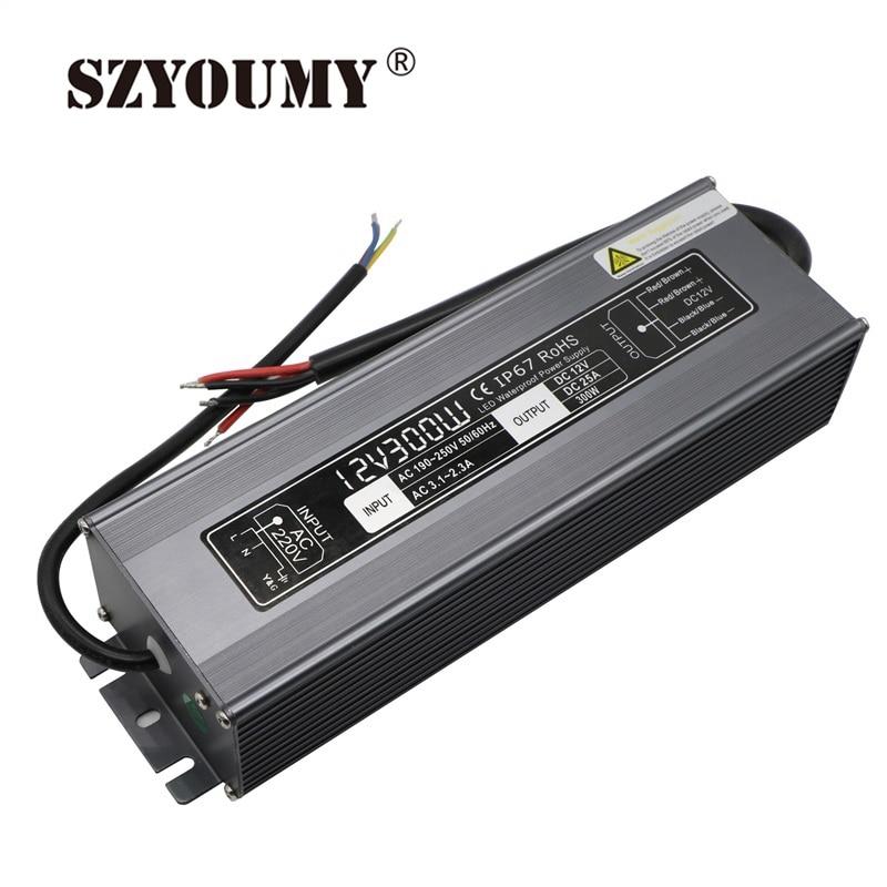 SZYOUMY 25A courant AC 190 V 250 V à DC 12 V transformateur étanche puissance 12 V 300 W LED alimentation du conducteur pour bande de LED/modules