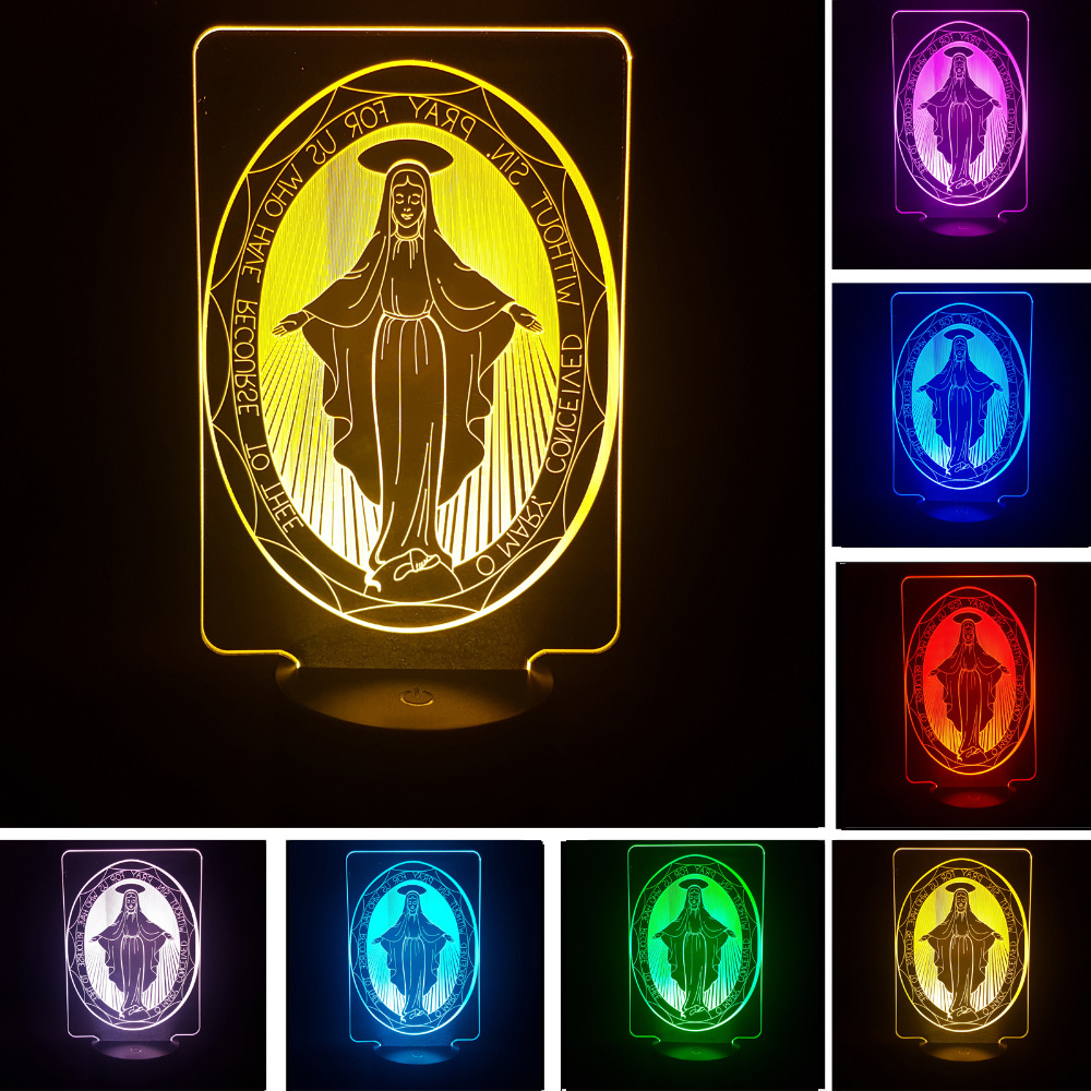 The Virgin Mary 7 Color Gradient 3D Visual Illusion Led Sleep Light Night Lamp for Kids Bedroom Home Decor Toy Good Luck Gifts nba star 7 color lamp 3d visual led