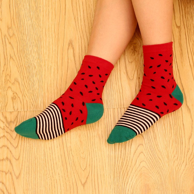 1 Pair Top Sell Novelty Fruit Pattern Watermelon Lemon Pineapple Personality Jacquard Cotton Socks Casual Cute Socks ...