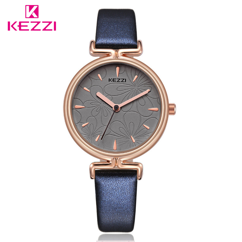 KEZZI Brand Fashion Ladies Watches Leather Female Quartz Watch Women Thin Casual Strap Watch Reloj Mujer Beautiful Flower Dial shengke top brand fashion ladies watches white leather marble dial female quartz watch women thin casual strap watch reloj muje