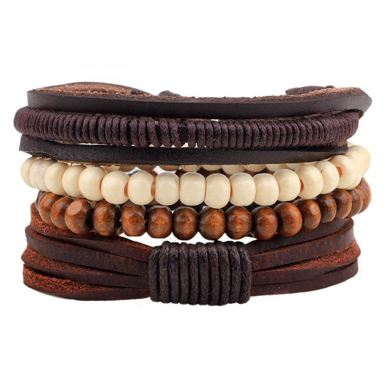 2017 Retro Style Leather Hand Adorn Wooden Leather Woven Beads Handmade Multi-root Bracelet Men and Women General Gift