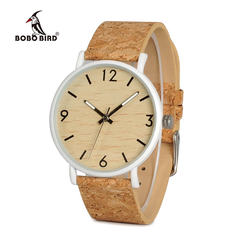 BOBO BIRD WE18 Luxury Quartz Watches Top Brand Designer Watches With Wood Watch Face and Cork