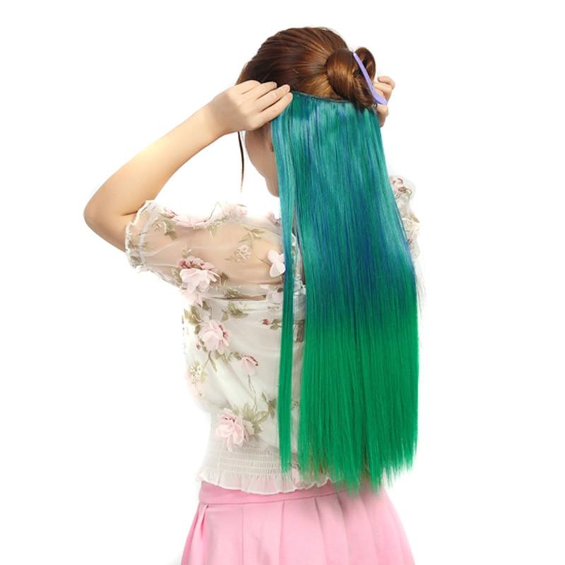 Jeedou клип в наращивание волос Одна деталь с 5 клипы прямо синтетического природного Цвета выметания постепенное Ombre Цветные шиньоны