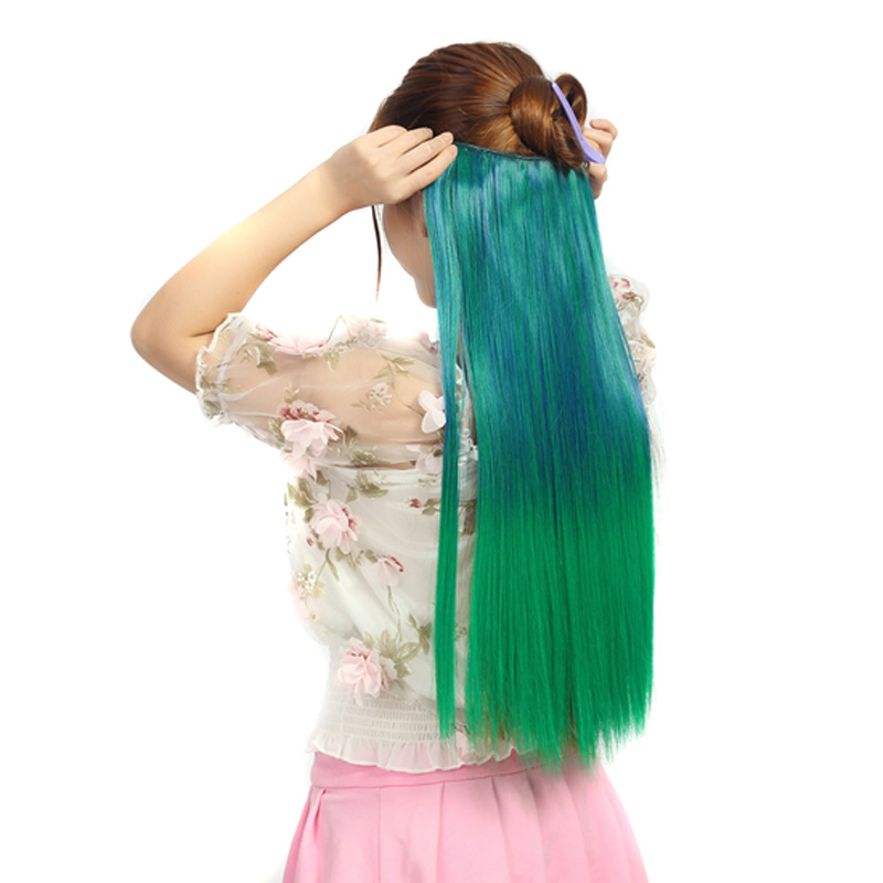 Jeedou Ombre Color Clip In One Piece With 5Clips Hair Extensions Straight Synthetic Hair Green Pink Natural Colors Hairpieces