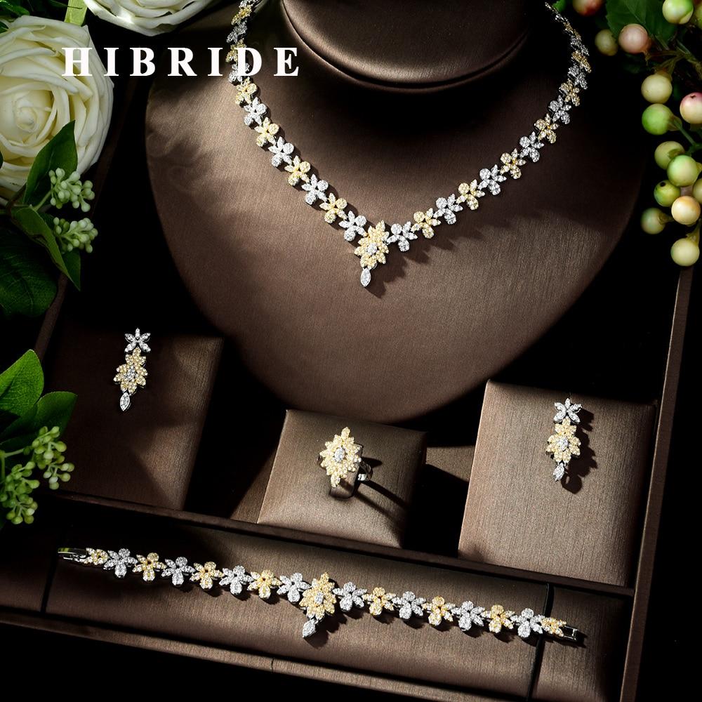 HIBRIDE jasny AAA Cubic cyrkon zostawić zestawy biżuterii akcesoria oświadczenie naszyjnik 4 sztuk zestaw dla kobiet Wedding Party biżuteria N 235 w Zestawy biżuterii od Biżuteria i akcesoria na  Grupa 1