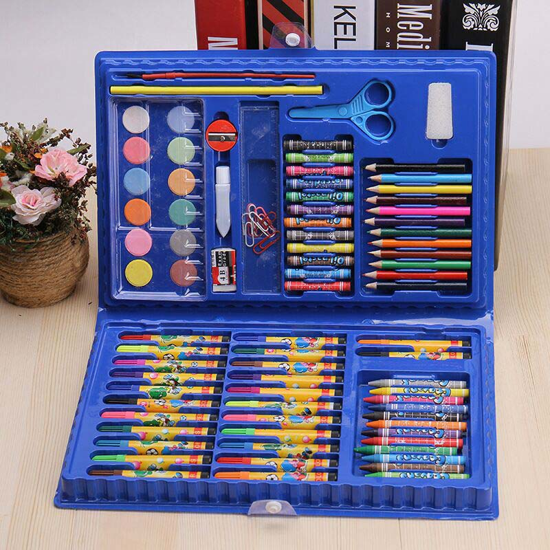 86 pcs in 1 kids 12 Colors Marker Watercolor Pen Packet Set Children Painting Crayon Pencil