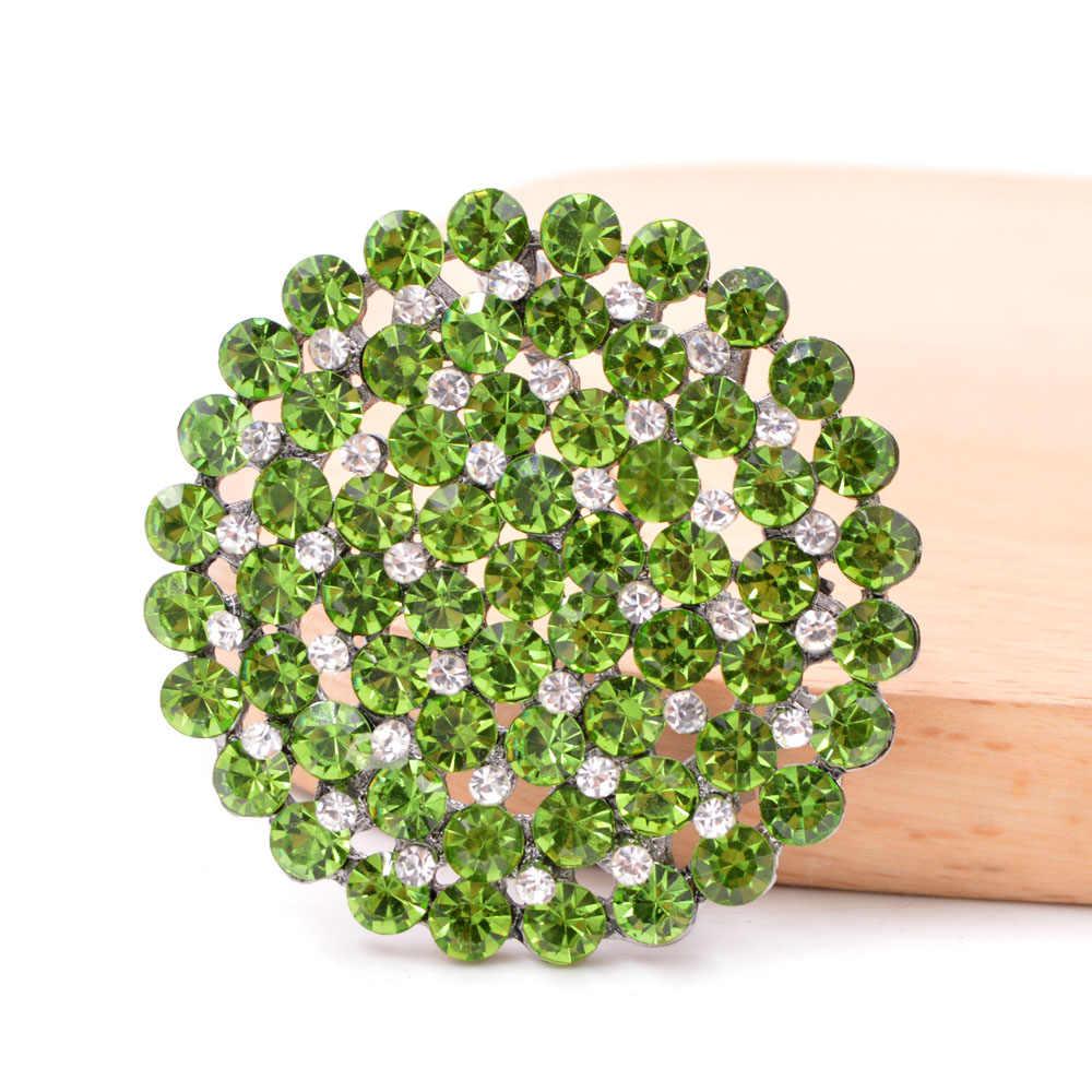 Cinkile Baru Rhinestone Bulat Besar Bunga Bros untuk Wanita Fashion Double Layer Style Dress Pin Perhiasan 4 Warna Tersedia