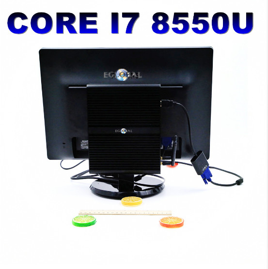 8th Gen Mini PC Intel Core i7 <font><b>8550U</b></font> Quad Core 4.0GHz 8MB Cache <font><b>Fanless</b></font> Mini Computer Win 10 4K HTPC Intel UHD Graphics 620 Wifi image
