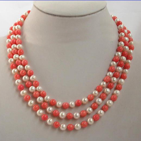 Gorgeous Pearl Jewellery,3Rows 8mm Round Pink Corales White Freshwater Pearls Necklace,Free Shipping цена и фото