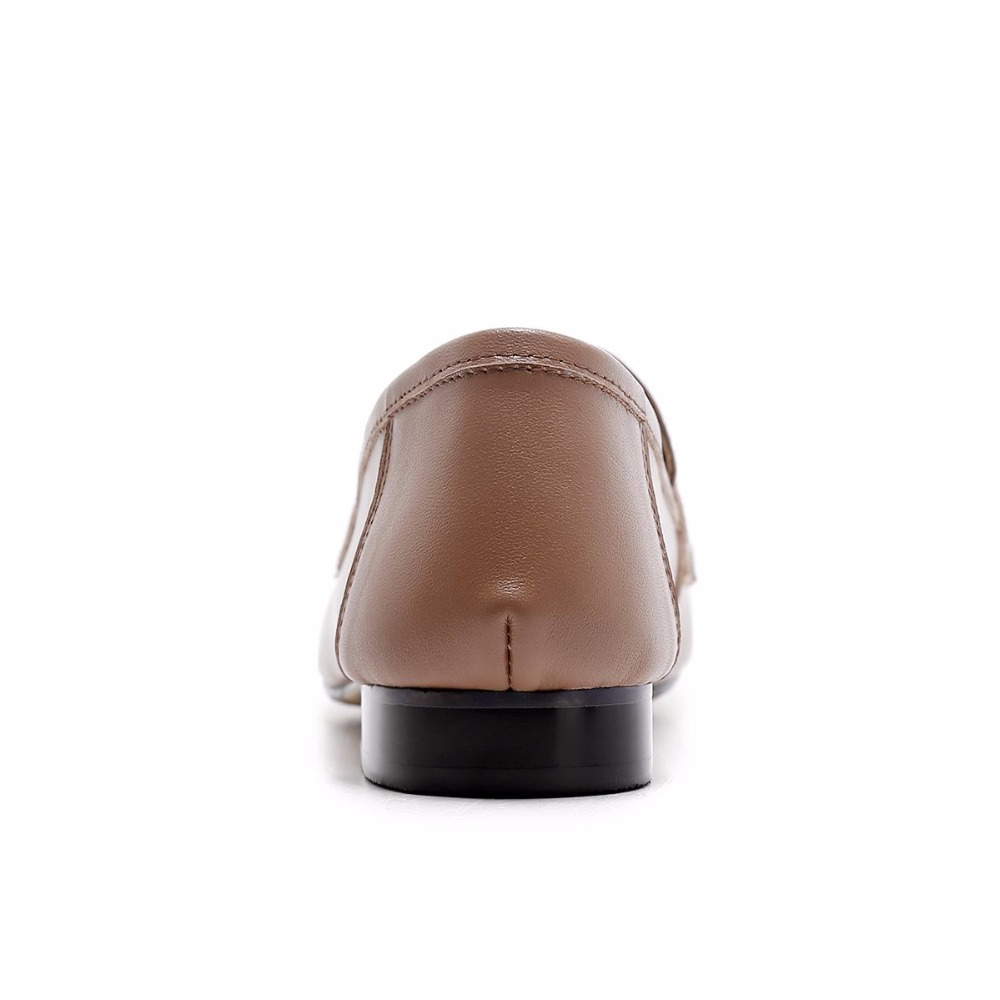 En Rond Talons Slip Élégant Casual Gant Superstar Bas Grand Rétro Femmes Cuir Véritable mère 2018 noir marron Beige Chaussures Bout Classique Sur Pompes L99 w6tqUqA