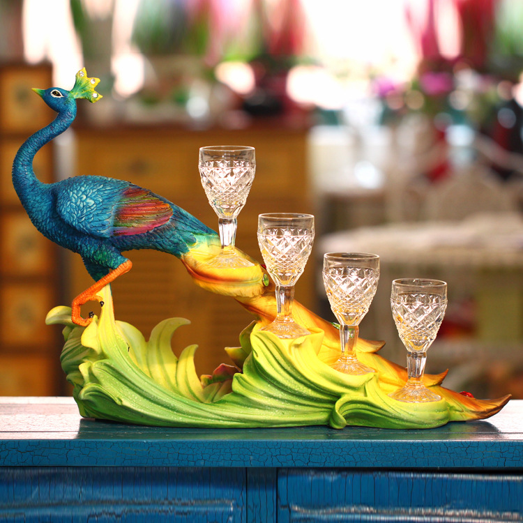 Sri Lanka Blue Peacock Wine Glass Cup Rack Resin Crafts Ornaments Fancy Wine Accessories With 4