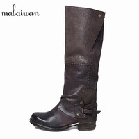 Mabaiwan Fashion Women Shoes Handmade Military Cowboy Boots Knee High Genuine Leather Motorcycle Boots Buckle Flats