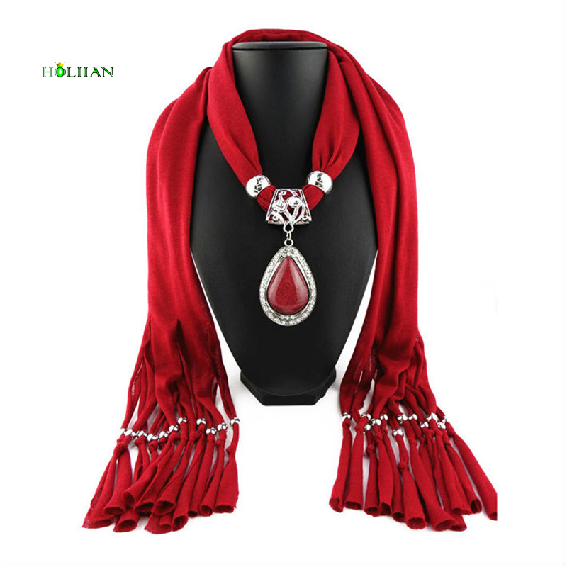 sky blue scarf style girl pendants necklaces women alloy beads