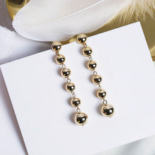 Statement Trendy Metal Ball Long Earrings For Women Fashion Jewelry Wholesale Female Personality Accessories