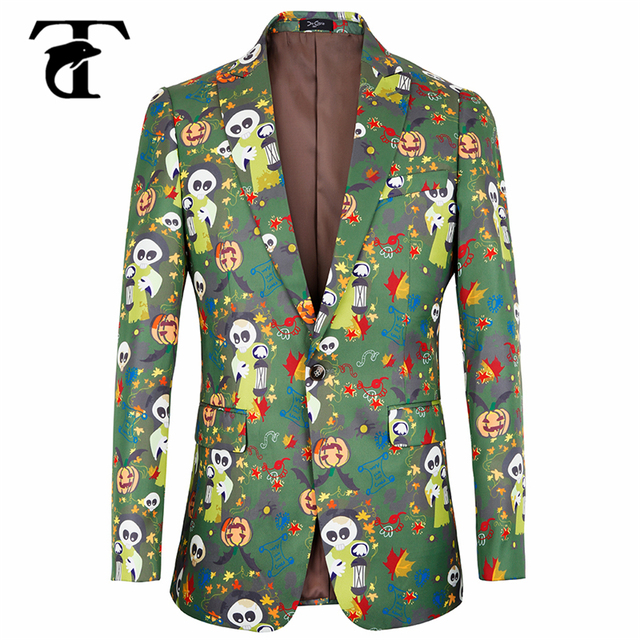 2018 Floral Blazer Men Jacket High Quality Slim Fit Luxury Print Singer Performence Costume Halloween Casual Suit Jacket