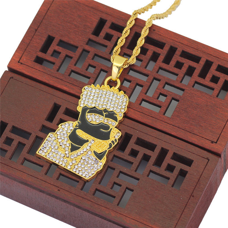 Rhinestone Figure Pendent Rappers Necklace CLOVER JEWELLERY