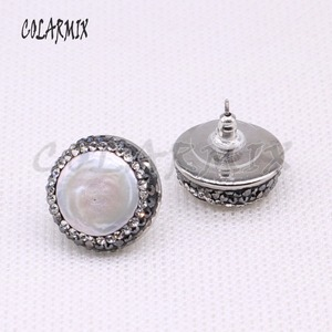 Image 5 - 10 ペアナチュラル真珠 18 ミリメートルスタッドピアスフリーフォームパールビーズビーズ手作りジュエリー女性宝石ジュエリーのための女性 3941