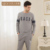 Qianxiu outono o novo estilo casal conjuntos de pijama pijama dos homens sleepwear elegante e confortável