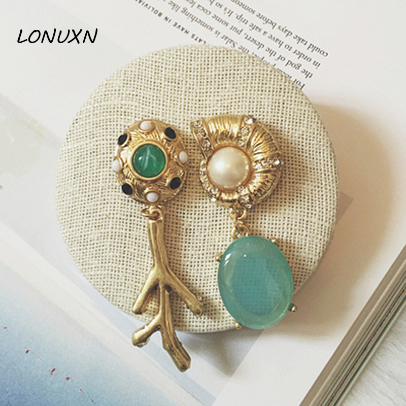 Famous Brand Fairy Korea Baroque Palace Retro Green Long Earrings Snail Shell Gold Women Vintage Queen Jewelry Girlfriend Gift