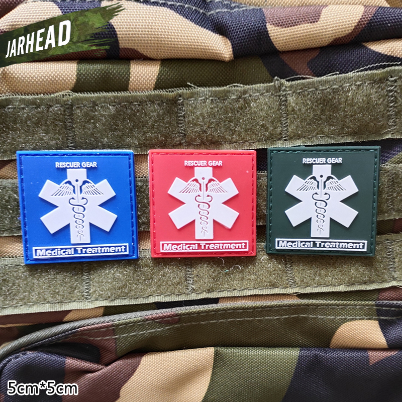 Rescuer Savior Medical Aid Military PVC Patches Velcro Rubber Armband Tactical Badge Personality For Backpack Hat Clothes