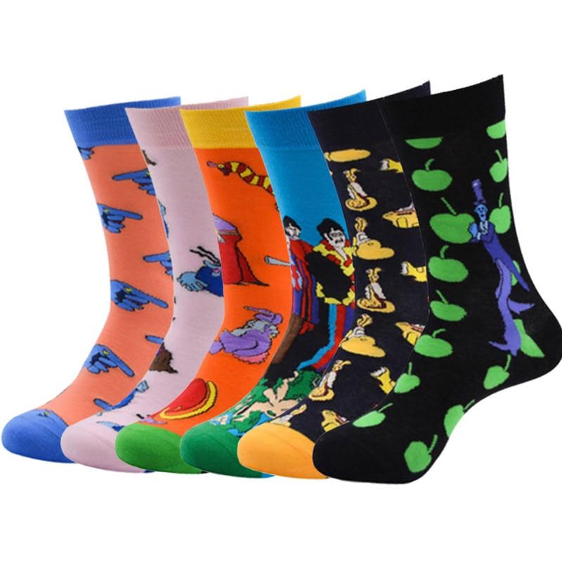 Men Combed Cotton   Socks   Funny Happy Novelty Long Crew   Socks   Beatles Rock Crazy Fun Funky Skateboard   Socks   Colorful Yellow Sox