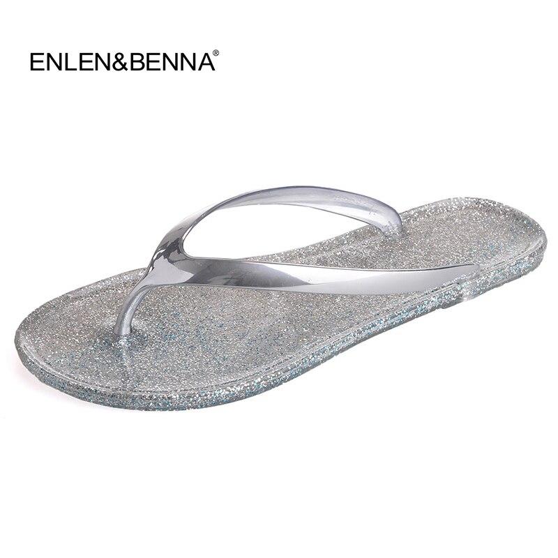 Women Shoes Slippers Fashion Designer Beach Flip Flops Ladies 2017 Summer Flat Thong Sandals Shower Slides Jelly sandals Gold