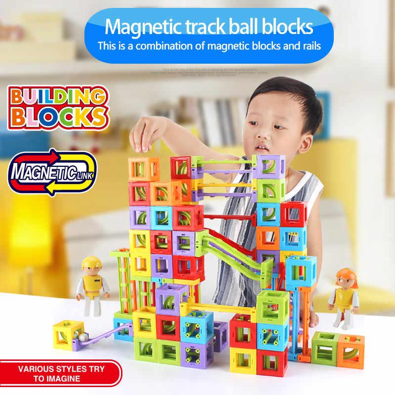 Строительные магнитные шарики игрушечные бусинки для детей пластиковые трубчатые бруски трек зимние Праздничные рождественские подарки для детей