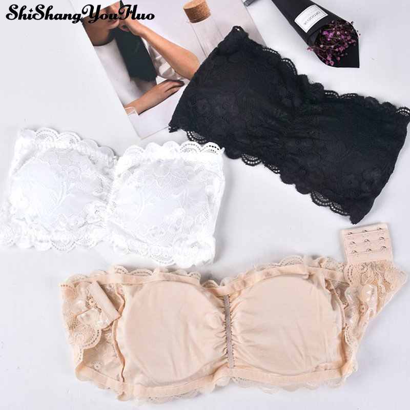 Sexy Lace Wrapped Chest Strapless Bra Padded Three Hook Women's Underwear