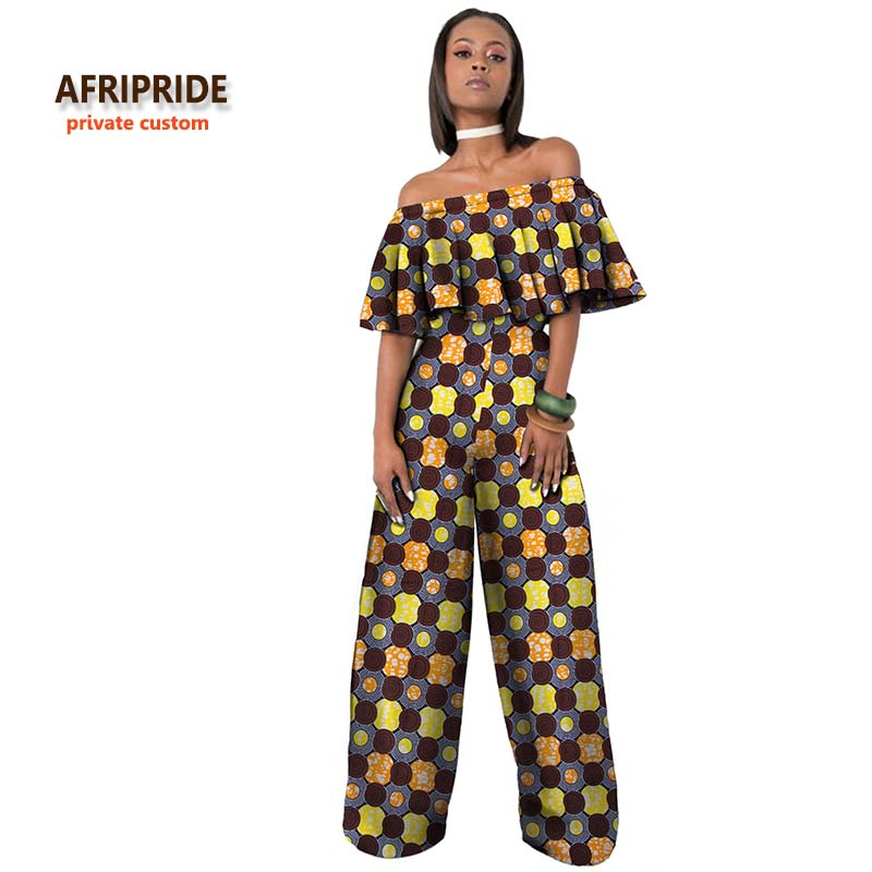 2018 AFRIPRIDE Private Custom African Jumpsuit  For Woman Short Sleeve Ankle-length Jumpsuit Summer Clothes For Work  A722901