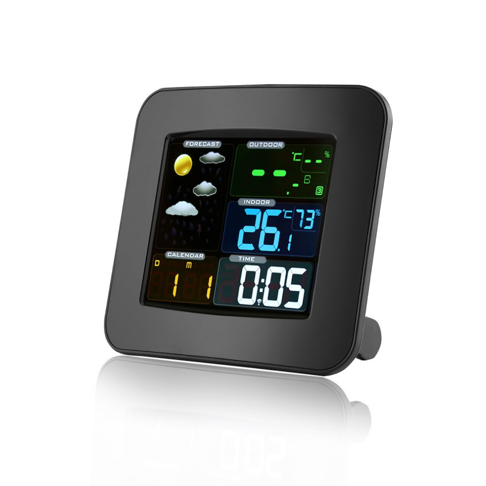 Wireless Weather Station Color LCD Digital In/Outdoor Temperature Humidity Barometer Snooze Alarm Clock Weather Forecast Meter wireless digital thermostat sensor temperature humidity thermometers hygrometers meter alarm clock calendar weather station