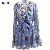 RUGOD 2018 Newest Autumn Floral Print Women Dresses Sexy Vintage Sundresses Deep V Neck Long Sleeve Beach Dresses Vestidos Robe