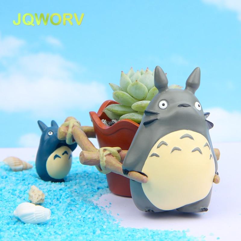 JQWORV Moderne Cartoon Sukkulenten Pflanzer Topf Harz Kreative Handwerk Nette Totoro Blume Topf Home Dekorationen Vase macetas töpfe
