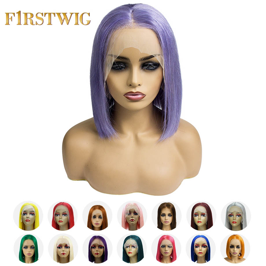 FristWig Lace Front Human Hair Short Bob Wigs Multiple Colors Lace Front Blonde 613 Wig Pink