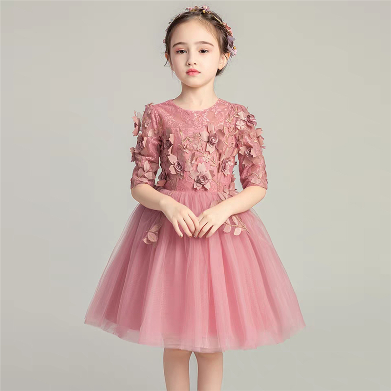 Children Little Girls Autumn Winter Half-Sleeves Birthday Wedding Party Prom Princess Lace Dress Kids Baby Host Costume Dress connected seamed half sleeves flared ponte dress eggplant 6