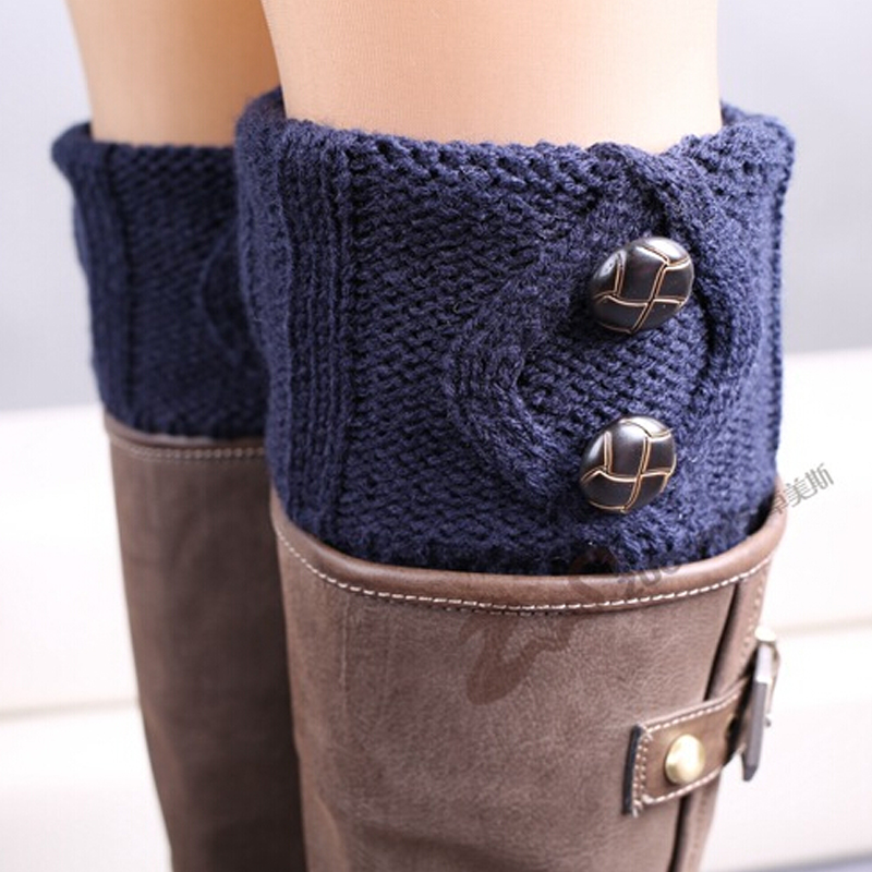 TOIVOTUKSIA Knit Boot Manset Tombol Crochet Boot Toppers Thermal Boot - Pakaian dalam - Foto 3