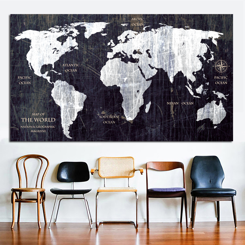 Reliabli Art Vintage World Map Canvas Painting Wall Art Print Poster