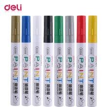 Deli 12pcs white paint pen mark oil 8 colors black silver gold waterproof fade marker