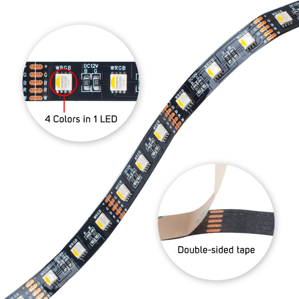 5M 5050 RGBW 4 in 1 RGB+White Strip DC12V Mixed Color 60leds/m Black PCB  300LEDs Ribbon Lamps Multi colored LED Tape Lights-in LED Strips from  Lights ...