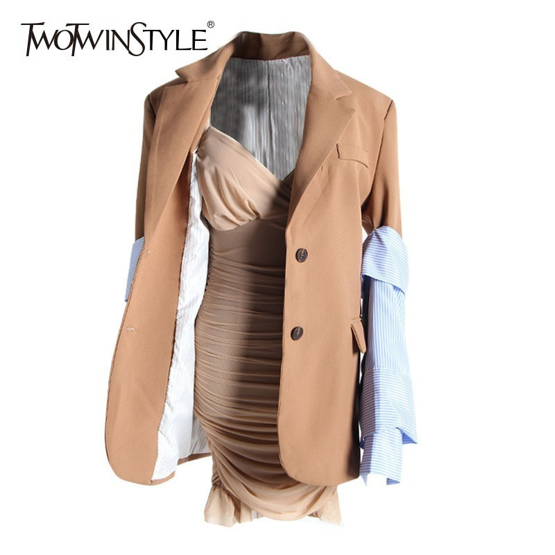 TWOTWINSTYLE Two Piece Set Women Long Sleeve Back Split Patchwork Striped Blazer Sexy Evening Dress Women's Suits Autumn 2020